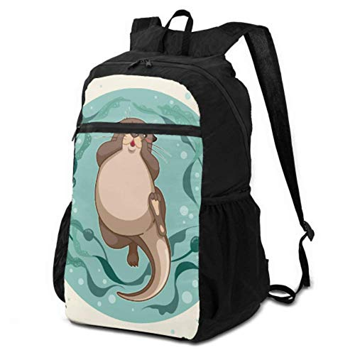 JOCHUAN Foldable Day Backpack A Cute Sea Otter Floating on Water Women Hiking Daypack Daypacks for Hiking Lightweight Waterproof for Men & Womentravel Camping Outdoor
