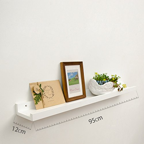 WLH- Woonkamer aan de muur Shelf Partitie wandplank Mount Planken TV Wall Background Muur Plat (wit) (Size : C95x12cm)