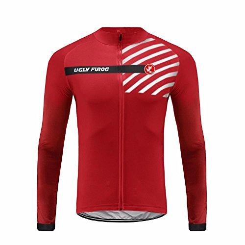 Uglyfrog UFDSJ20 Fahrradtrikot Bici Langarm Pro T - Radtrikot-MTB - Jersey - Reißverschluss - Atmungsaktiv - Schnelltrocknend - Reflektoren-Bike Wear