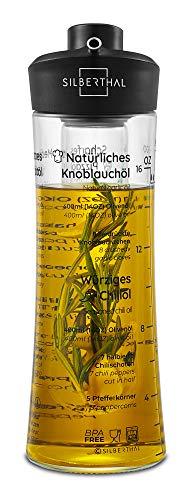 SILBERTHAL Oliera in Vetro | Oliera salvagoccia 500ml | Bottiglia Olio | Oliera con infusore | Dispensatore Olio e aceto Cucina