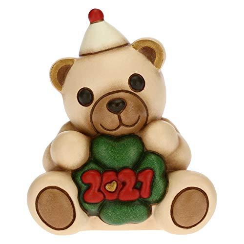 THUN - Soprammobile Orsetto Capodanno Buon 2021 - Accessori per la Casa da Collezionare - Formato Piccolo - Variante Oro - Ceramica - 7,5 x 5,8 x 8,5 h cm