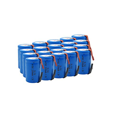 GEILIENERGY 1.2V 4/5 SubC Sub C 2200mAh NiCd Rechargeable Battery for Power Tools with Tab(Pack of 20)