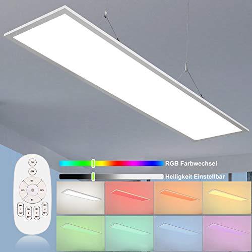 Dimmbar LED Deckenleuchte Panel 120x30cm, 40W RGB Indirekt Deckenpanel Lampe 2800 Lumens 250 LEDs Rechteckig Flach Licht, 8 Farbwechsel mit 4000K Neutralweiß Hängende Leuchter für Büro, Wohnzimmer