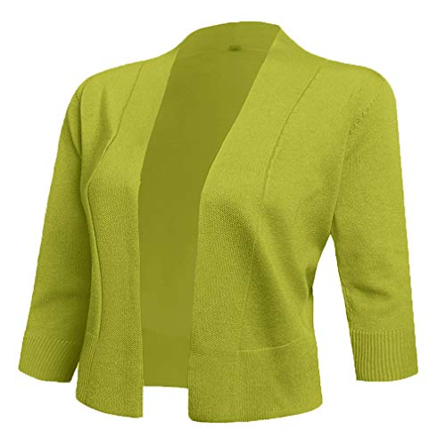 AAMILIFE Women's 3/4 Sleeve Cropped Cardigans Sweaters Jackets Open Front Short Shrugs for Dresses (X-Large, 14-Lime)