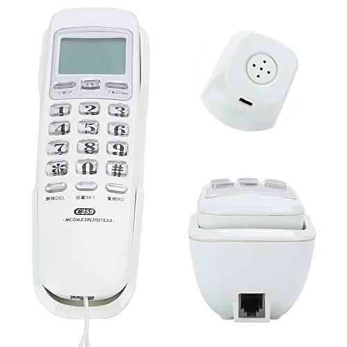 Plyisty Teléfonos de Pared, teléfono Fijo con Cable avanzado, identificador de Llamadas, último número de rellamada, teléfono Fijo con Cable con cancelación de Ruido para(Blanca)