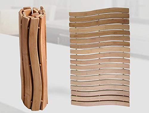 HALAWAKA Opvouwbare Bamboe Houten Badkamer Badmat Voor Douche Spa Sauna met Niet Slip Voeten Indoor Outdoor Gebruik voor Keuken Slaapkamer Badkamer Toilet Deurmat Huisdier Mat