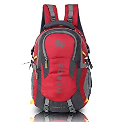 HEROZ Hammer Unisex Nylon 45 L Travel Laptop Backpack Water Resistant Slim Durable Fits Up to 17.3 Inch Laptop Notebook (Grey & Red),Heroz,057