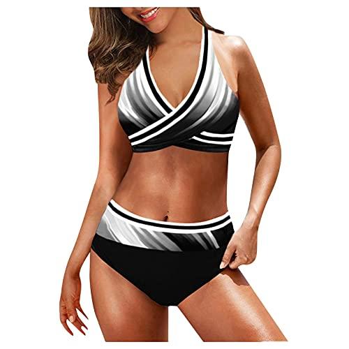 YAOBF Badeanzug Und Vertuschungsset Aroa Bikini ArmeegrüNes Tankini-Oberteil Hotapei Bikini KöNigin Badeanzug Schwarzes BikinihöSchen (Weiß 1,L)