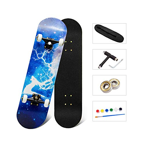Complete Skateboards Double Kick Skateboards for Beginners Kids Teens Adults 7 Layer Canadian Maple Deck Pro Skateboard for Boys Girls 31'x 8'
