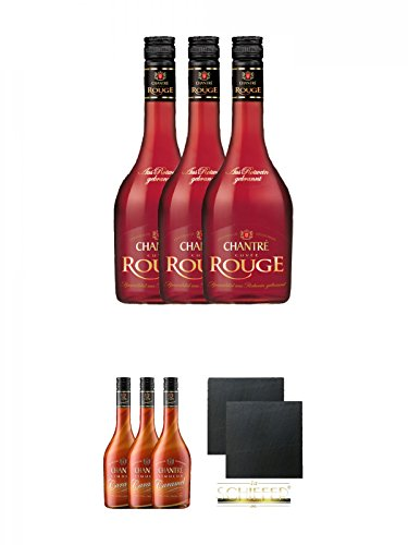 Chantrè Cuvee Rouge 3 x 0,7 Liter + Chantrè CARAMEL 3 x 0,7 Liter + Schiefer Glasuntersetzer eckig ca. 9,5 cm Ø 2 Stück