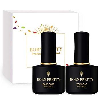 BORN PRETTY Base and No Wipe Top Coat Gel Polish Set - Soak Off for UV LED Nail Art Gel Polish 0.34 fl oz/Bottle  Base&Top