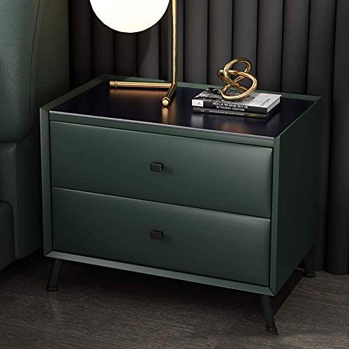 LXTIN Softly-Covered Leather Nightstand,Modern Bedroom Furniture Bedstand Cabinet Coffee Sofa End Bedside Table Home Hotel Furniture Cupboard Green