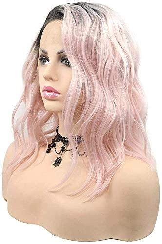 GDYJP Parte Laterale Parrucche Parrucche Pastello Rosa Pastello in Pizzo Sintetico Parrucche Anteriori in Pizzo Corto Bob Parrucche per Il Partito Cosplay Uso Quotidiano (Color : A)