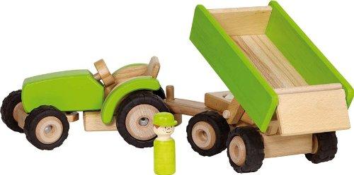 Goki - 2041281 - Figurine Transport Et Circulation - Tracteur en Vert avec Remorque