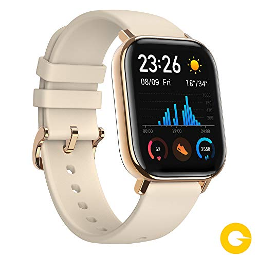 Amazfit GTS Reloj Smartwactch Deportivo | 14 días Batería | GPS+Glonass | Sensor Seguimiento Biológico BioTracker PPG | Frecuencia Cardíaca | Natación | Bluetooth 5.0 (iOS & Android) Gold