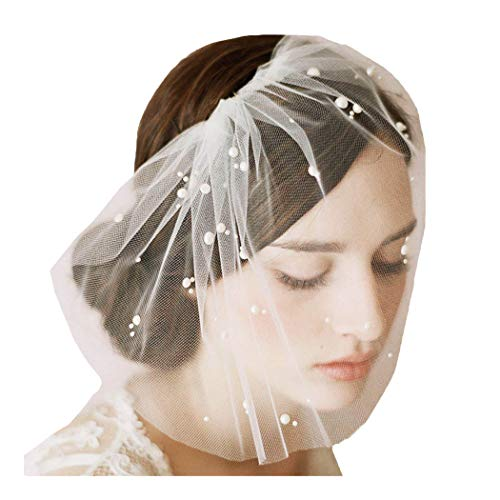 Barode Bridal Wedding Veil Bridal Pearl Birdcage Veil with Comb Bride Hair Accessories for Women and Girls (White)