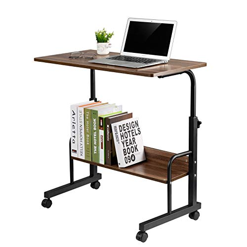 GAJOO Mobile Side Table Mobile Laptop Desk Cart 31.49 Inches Tray Table Adjustable Sofa Side Bed Table Portable Desk with Wheels Student Laptop Desk (Coffee)