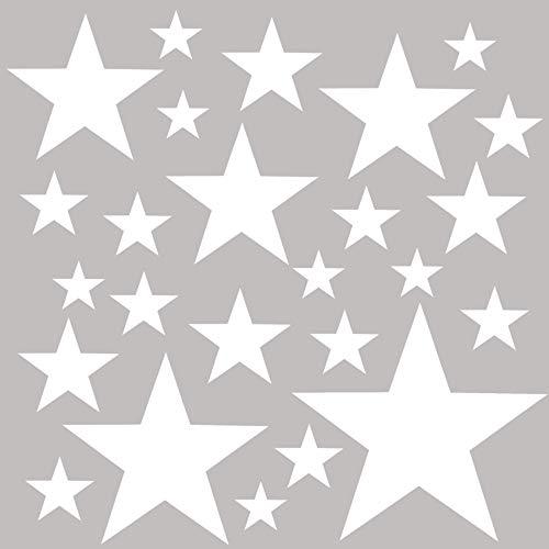 PREMYO 25 Estrellas Pegatinas Pared Infantil - Vinilos Decorativos Habitación Bebé Niños - Fácil de Poner Blanco