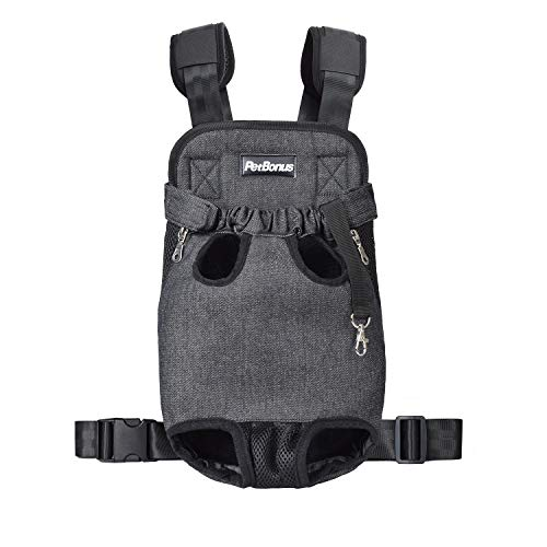 PetBonus Denim Front Kangaroo Pouch Dog Carrier, Wide Straps Shoulder Pads, Adjustable Legs Out Pet Puppy Backpack Carrier Walking, Travel, Hiking, Camping, Grey, Medium