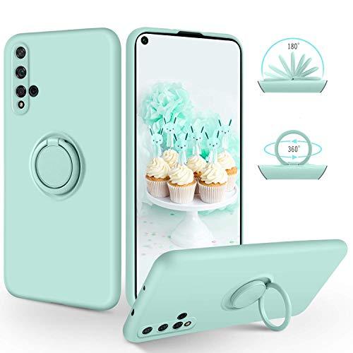 SucVict Huawei Nova 5t Hülle, Huawei Nova 5t Handyhülle Silikon Gel Slim Case Cover mit Ring Halter Ständer stabil Kratzfest Hülle für Huawei Nova 5t Hellblau