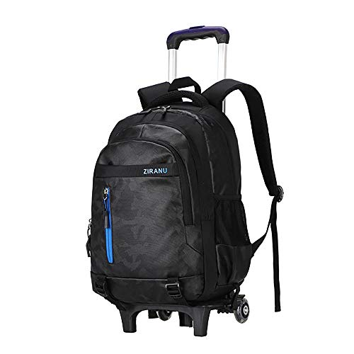 Trolley Backpack Wheeled Bag Kids Removable Rolling Schoolbag 2 Wheels Waterproof Large Capacity Student Rucksack for Boys Girls Teens School Travel Outdoor GWBI-black