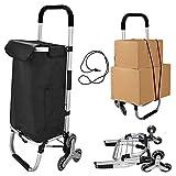 Carrito de Compras Plegable | Carro de escalador de escalera con capacidad de 3+3 ruedas carrito plegable con bolsas desmontables, 2 bolsillos extra antideslizantes carrito de barra carro utilitario