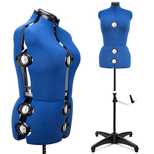 """13 Dials Female Fabric Adjustable Mannequin Dress Form for Sewing, Mannequin Body Torso with Tri-Pod Stand, Up to 70"""" Shoulder Height. (Large)"""
