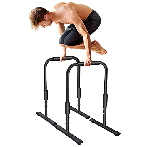KL KLB Sport Heavy Duty Dip Stand Dip Station Fitness Workout Parallel Bar, 300LBS Capability Strength Training Equipment for Home Gym