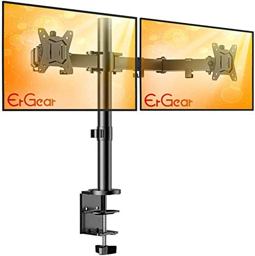 ErGear 17 32 Dual Monitor Stand Mount Heavy Duty Fully Adjustable Desk Clamp Arms for Computer product image