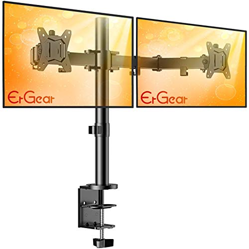 """ErGear 17-32"""" Dual Monitor Stand Mount, Heavy-Duty Fully Adjustable Desk Clamp Arms for Computer Screens, Loads up to 17.6lbs per arm w/Swivel and Tilt, 75/100mm VESA, Black - EGCM1"""