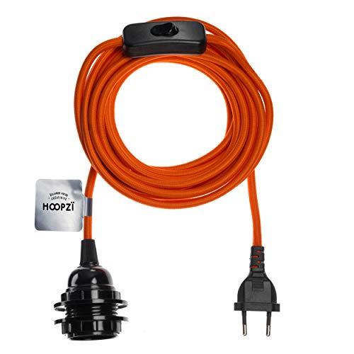 Hoopzi - Bala - Fassung e27 mit Kabel - Lampenfassung e27 mit Kabel und Schalter - Textilkabel mit Fassung - Lampenkabel - Pendelleuchte - 4,5 Meter - 36 Fraben - Orange