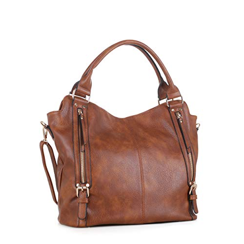 DELUXITY Hobo Shoulder Bags for Women Tote Handbags Fashion Large Capacity Ladies Crossbody Front Zippers | Brown