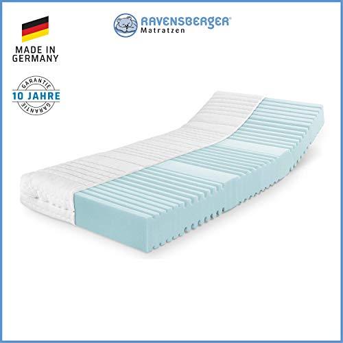 RAVENSBERGER Orthopädische | 7-Zonen-HYBRID-Kaltschaumkomfortmatratze | RG 40 Härtegrad 3 (80Kg bis 120Kg) | Made IN Germany - 10 Jahre GARANTIE | Baumwoll-Doppeltuch-Bezug | 90 x 200 cm