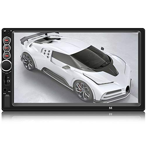 "Double Din Car Stereo in-Dash Head Unit with 7"" LCD Touch Screen Support Rear-View Camera Bluetooth Function MP5/4/3 Radio FM Car Radio Receiver Mirror Link Caller ID, with Backup Camera"