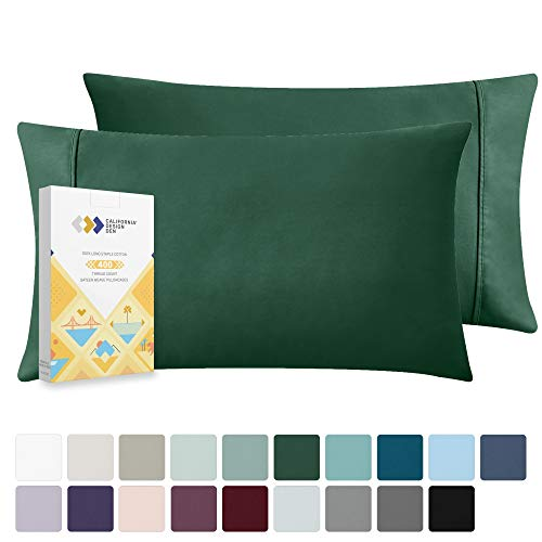 California Design Den Hunter Green Pillow Cases Standard Size - Natural Combed Cotton 2 Piece Pillow Cover Set, Durable 400 Thread Count, Washable Sateen Weave Pillow Shams