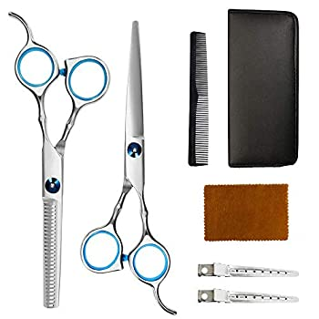 Professional Hair Cutting Kit Quality Home Hair Cutting Scissors Hairdresser Scissors Set Barber/Salon/Home Thinning Shears Haircut Kit Stainless Steel with Comb and Case for Men and Women