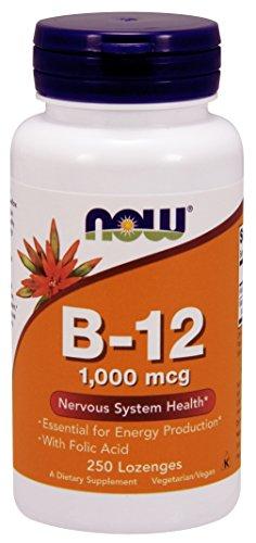 Now Foods Vitamin B12 with Folic Acid, 1000 mcg, 250 Chewable Vegetarian Lozenges