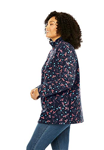 Woman Within Women's Plus Size Quarter-Zip Microfleece Pullover - 1X, Evening Blue Marled