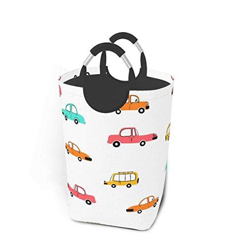 mallcentral-EU Wäschekorb, Jungenspielzeug Cartoon Car Grip Wäschekorb, Waschbehälter 50L