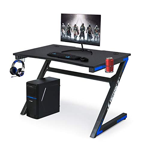 Computer Gaming Desk with Large Carbon Fiber Surface Cup Holder & Headphone Hook for Home or Office,Black Gaming PC Desk Table