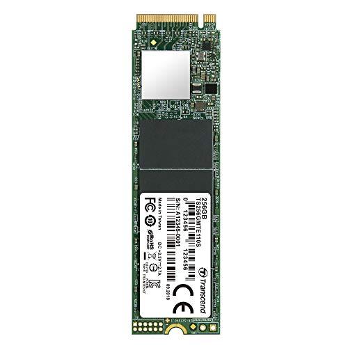 Transcend MTE110S, NVMe PCIe Gen 3x4 M.2 SSD de 256 GB, 3D TLC NAND Flash, Velocidad de Escritura hasta 1,500 MB/s, Velocidad de Lectura hasta 1,800 MB/s