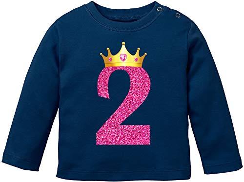 EZYshirt® Geburtstag Baby | 1. & 2. Geburtstag Krone Mädchen Erster & Zweiter Geburtstag T-Shirt Langarm Baby Bio Baumwolle