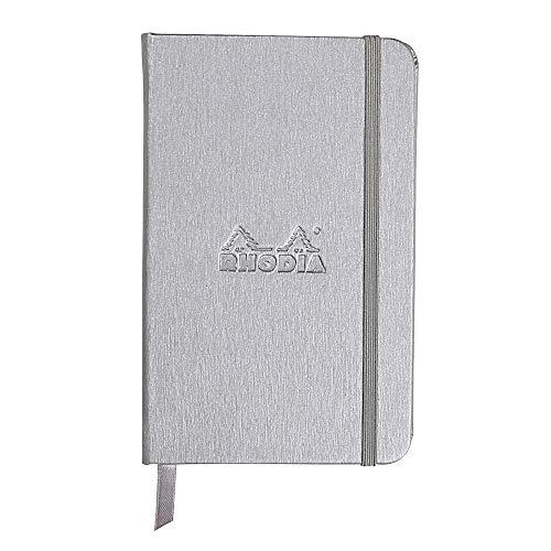 Rhodia 118067C - cahier rembordé rigide Webnotebook 192 pages ivoire 9x14 cm 90g lignées, fermeture élastique, marque page, pochette à soufflet, couverture simili cuir Argent