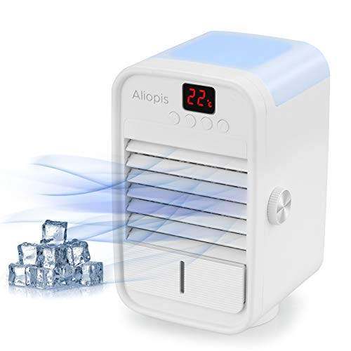 Mini Evaporative Table Fan with Automatic Rotation & Temperature Display, Aliopis Personal Portable USB Air Cooler Fan Water Cooled Small Household, Quiet for Home Office