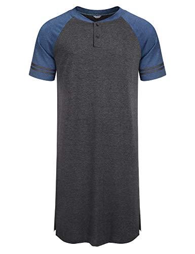 Nachthemd Herren Kurzarm Schlafanzug Nachtwäsche Schlafanzugoberteile mit Knopfleiste Knielang Schlafkleid nachthemden Kurz für Männer Sommer,A0grau(XL )