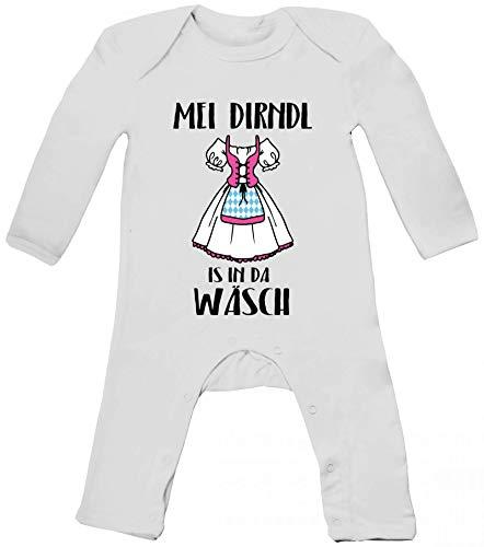 ShirtStreet Gaudi Wiesn Baby Strampler Langarm Schlafanzug Jungen Mädchen Oktoberfest - MEI Dirndl is in da Wäsch, Größe: 12-18 Monate,White
