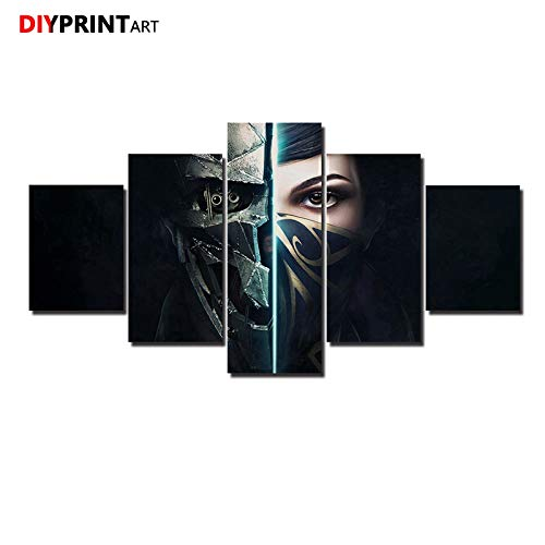 WINPRINT Bethesda vs Dishonored 2 Emily 5 Panels Wall Art Picture for Living Room Home Decoration, Framed 40X60 40X80 40X100cm