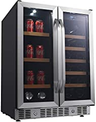 Double paned, tempered glass doors; Built-in capable; Touch panel digital controls & display Safety lock; Air-cooled technology; ADA compliant; Adjustable leveling legs; Slide-out wood trimmed shelving Black cabinet & stainless steel trim; Five (5) w...