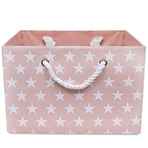 Faltbare Rosa Canvas Ablagekorb - hochwertige Rechteck Stoff Korb mit weißen Sternen - perfekt für den Haushalt Lagerung, Stoffe oder Spielzeug. Größe: Breite 42 cm x Tiefe 32 cm x Höhe 28 cm