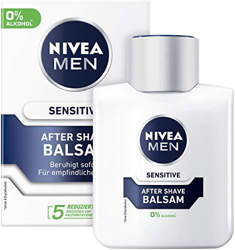 NIVEA MEN Sensitive After Shave Balsam (100 ml), beruhigendes After Shave, Hautpflege nach der Rasur mit Kamille und Vitamin E